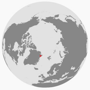 Map of the Arctic showing the location of the caves at the red dot