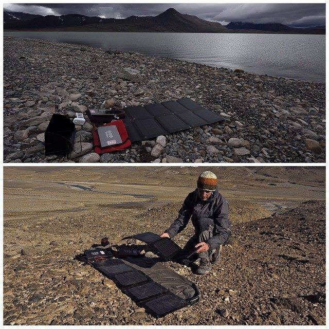 The @negreenland_caves project couldn't exit without the generous support from all of its sponsors! During our time in the Arctic Circle, we utilised the 24-hour sunlight by charging photographic equipment and Sat. Phones off two 20W Arc solar panel kits by @voltaicsystems. Huge thanks to @voltaicsystems for the sponsorship! They were just amazing 👍The bottom photograph was taken in the middle of the day and the top photograph was taken in the middle of the night