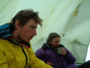 Robbie Shone and Chris Blakeley relax in the cook tent