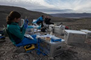 Gina at base camp with the samples during the 2019 expedition. Photo: Robbie Shone