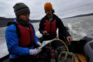 Gina Moseley and Chris Blakeley check progress across the lake