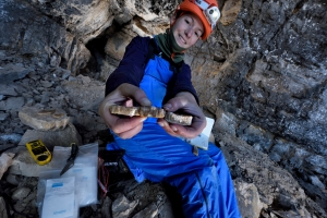 Gina Moseley collects some flowstone