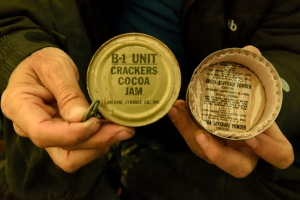 The inside of one of the US army ration tins found near base camp on the eastern shore of Centrum Sø