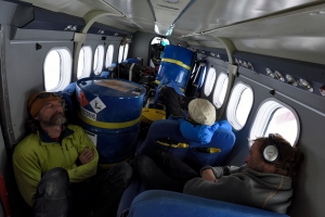 Sleeping in the Twin Otter on the route home