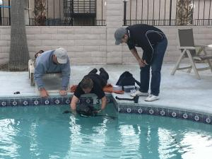 Testing the underwater housing in the hotel swimming pool
